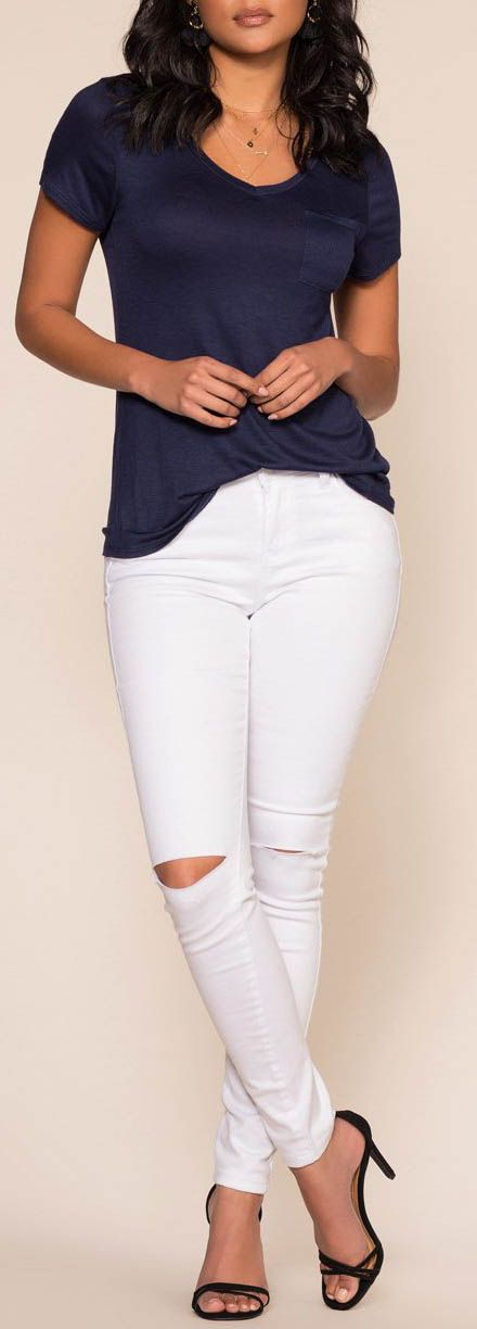Kaylee Basic Top - Navy