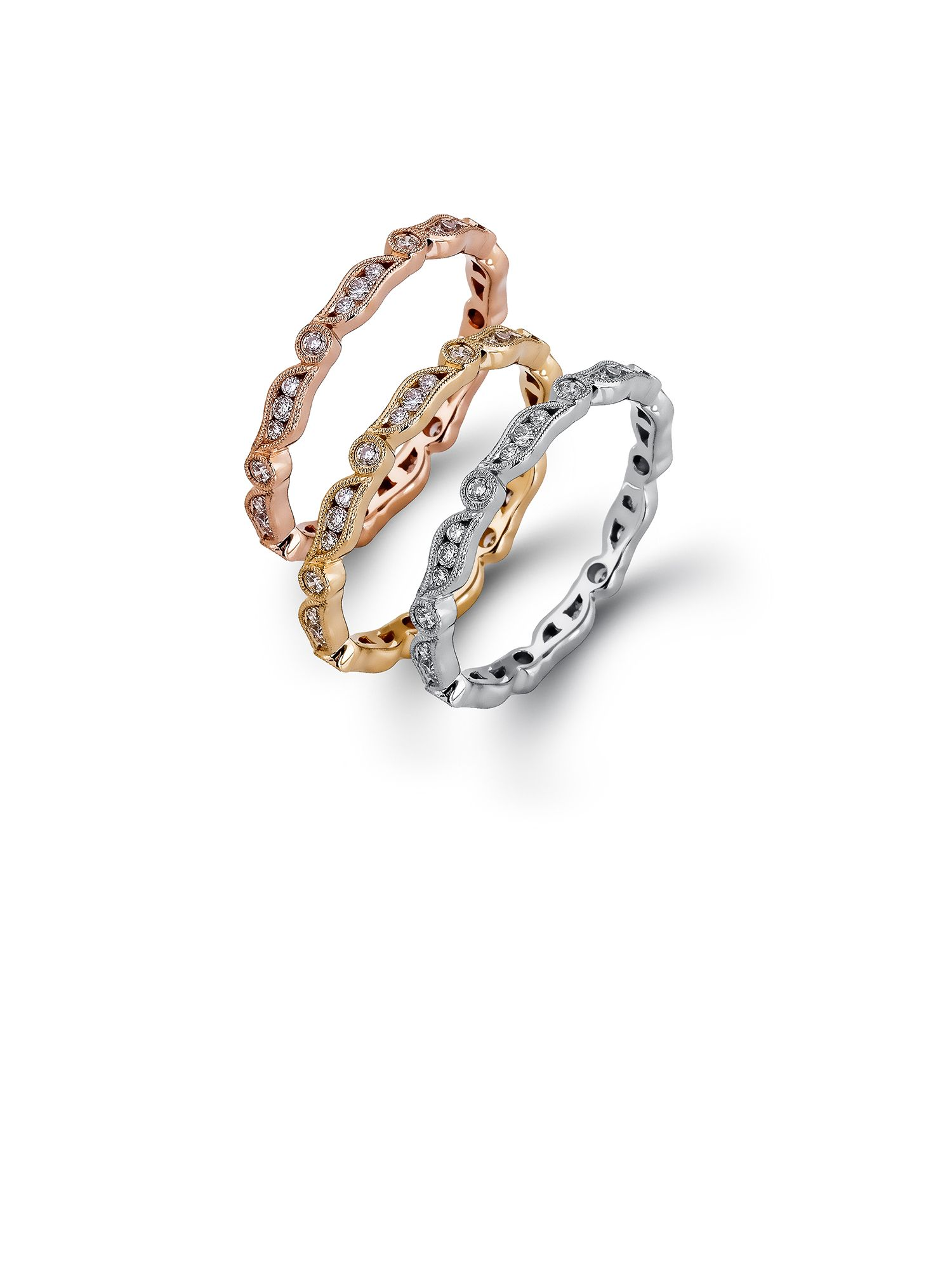 Gold Rose Gold White Gold Stack able Wedding Bands