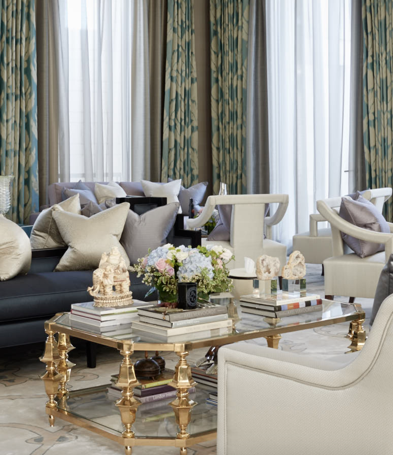 Katharine Pooley Luxury Elegant And Beautiful Living Room With Gold Center Table Best Top Famous Luxurious High End Interior Designers For More Decor Inspir