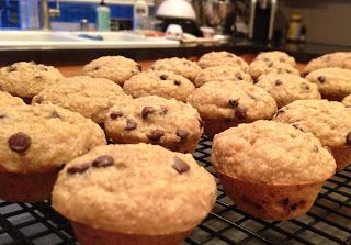 Gluten-free, vegan banana oat muffins (with chocolate chips of course)