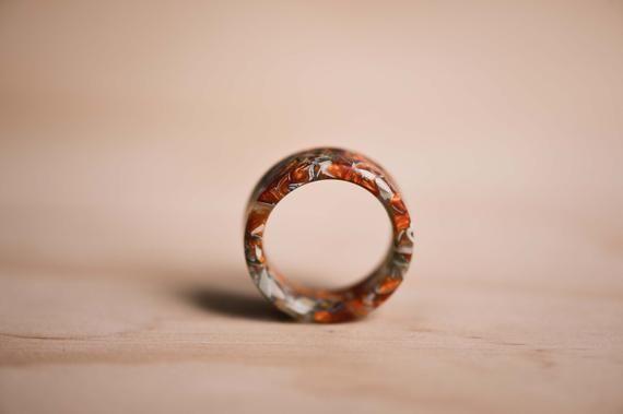 Photo of Shredded Cash & Metallic Orange Resin Ring – Shredded US Dollar Ring