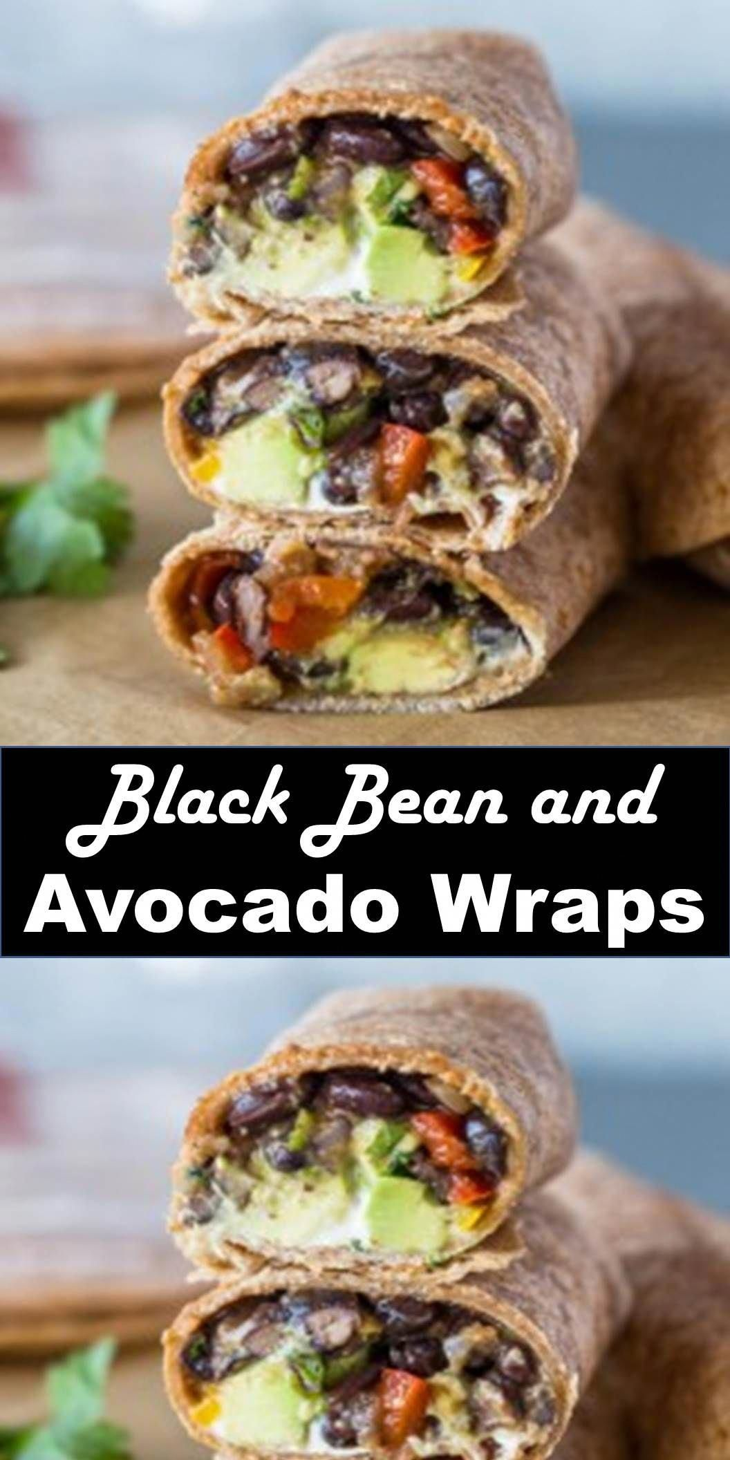 Delicious and healthy family choice special food and drink Black Bean and Avocado Wraps