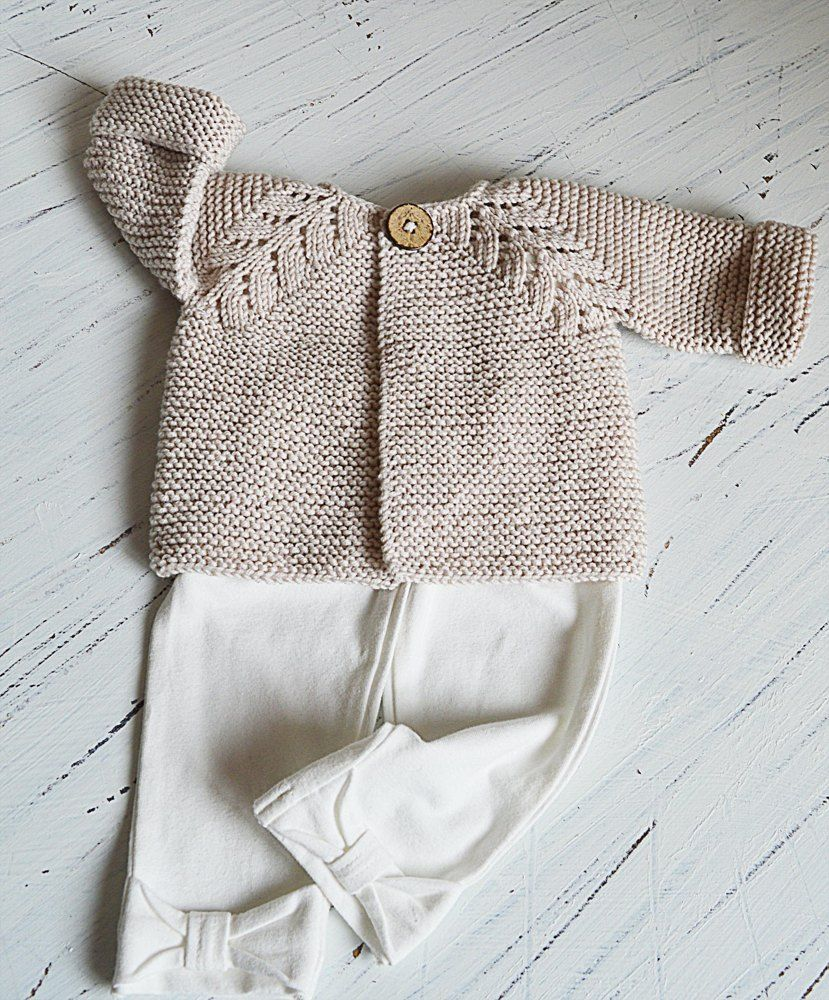 5d658d2e1 This seamless little top down baby cream cardigan is an intuitive knit