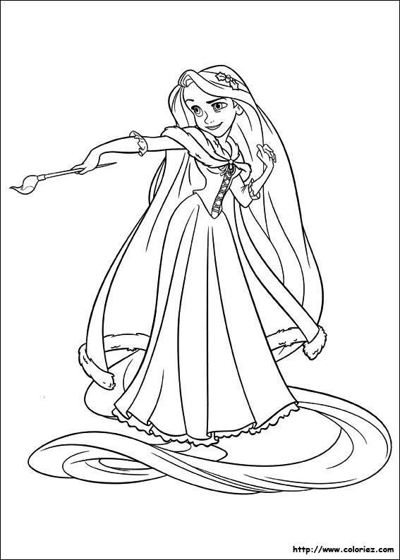 Coloriage raiponce raiponse pinterest coloriage - Raiponce dessin anime ...