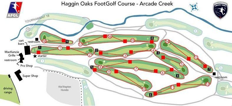Footgolf Course At Arcade Creek Golf Course Haggin Oaks Golf Courses Golf Rules Soccer Balls