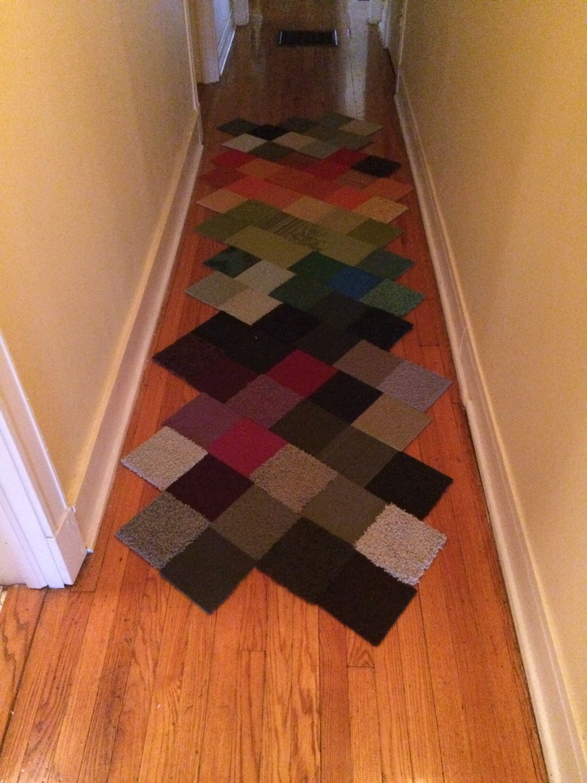 I used my collection of FLOR carpet samples to create a runner for
