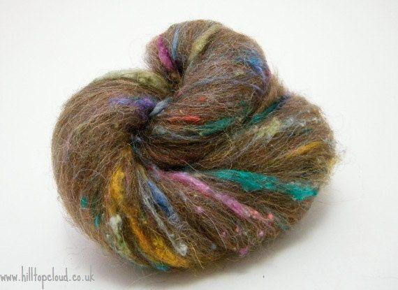 Day of the Dead, Rainbow Handcarded Batt, Moorit Shetland, Silk Noil, Firestar, 35g Made to order. £4.00, via Etsy.