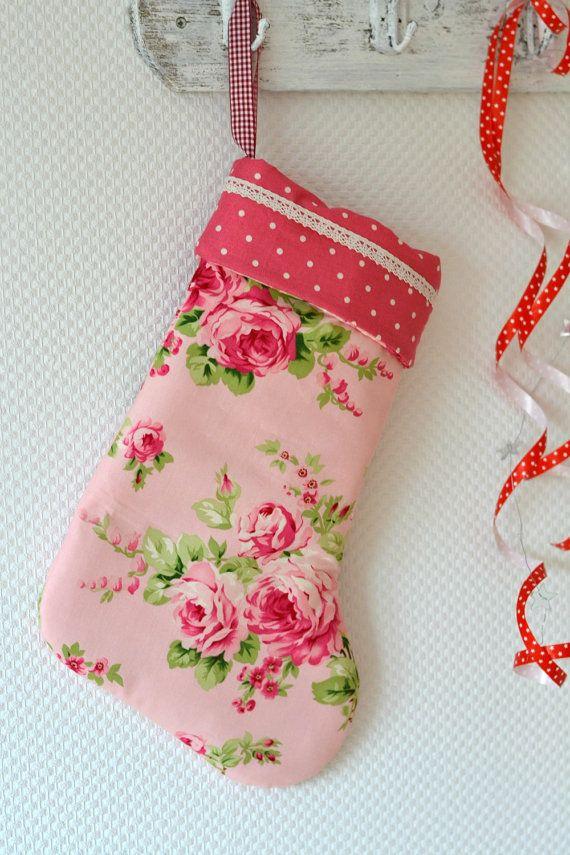 Shabby Chic Christmas Stocking Romantic Pink by PeriDotbyDuni, $39.00