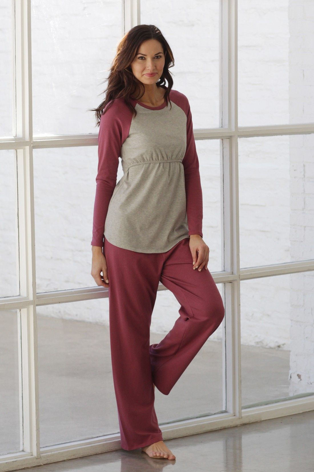 A longsleeved baseball shirt and pant set.versatile eco