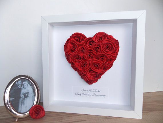 Ruby Wedding Anniversary Framed Picture Heart Of Roses Engagement Gift