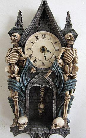 Vintage Halloween Skeleton Pendulum Clock