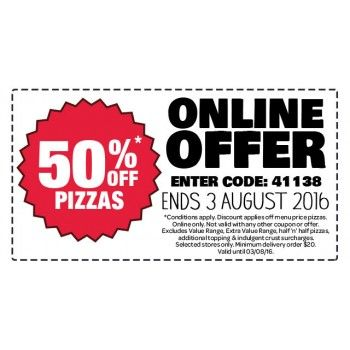 50% Off* Pizzas - This Week Only @ Domino`s Pizza - Bargain Bro