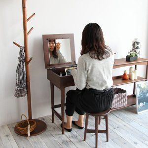 Photo of ドレッサー 収納 化粧 ミラー 鏡面 デスク 鏡面デスク 椅子 机 コンパクト ブラウン 北欧 おしゃれ カフェ かわいい スツール 省スペース☆IB-QQ :EMM-3140:ナカシマ家具 – 通販 – Yahoo!ショッピング