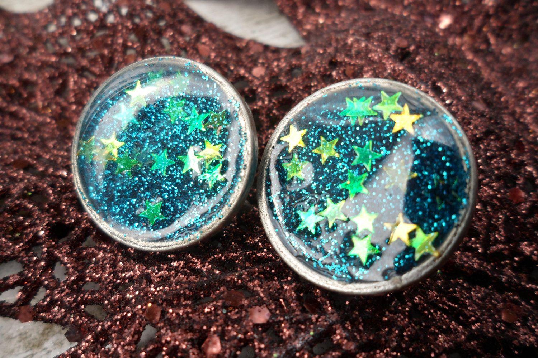 Custom faerie stars glitter resin earring set 1450
