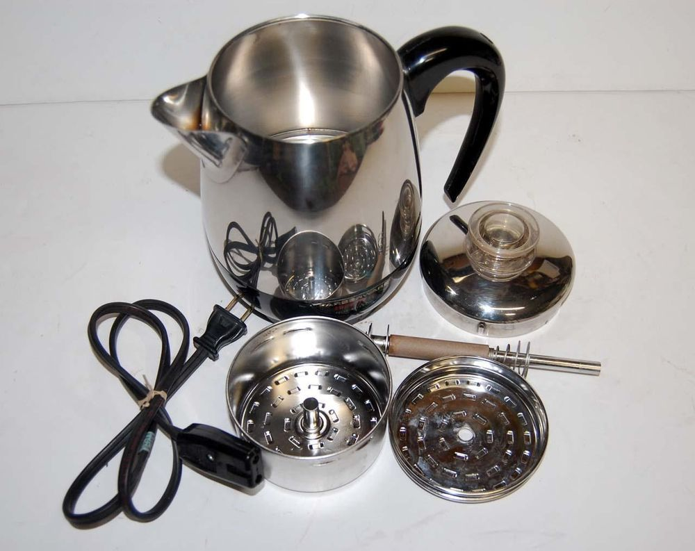 VTg Farberware Superfast Percolator Coffee Pot/Maker 2-4 Cup #134 USA Stainless | Percolator ...