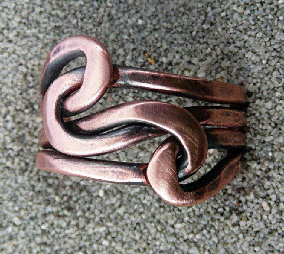 Forged Double Copper knot ring, Lovers Knot, 12 gauge wire ...