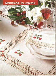 Hermoso mantel de crochet combinado con lino y bordado - Manteles de lino ...