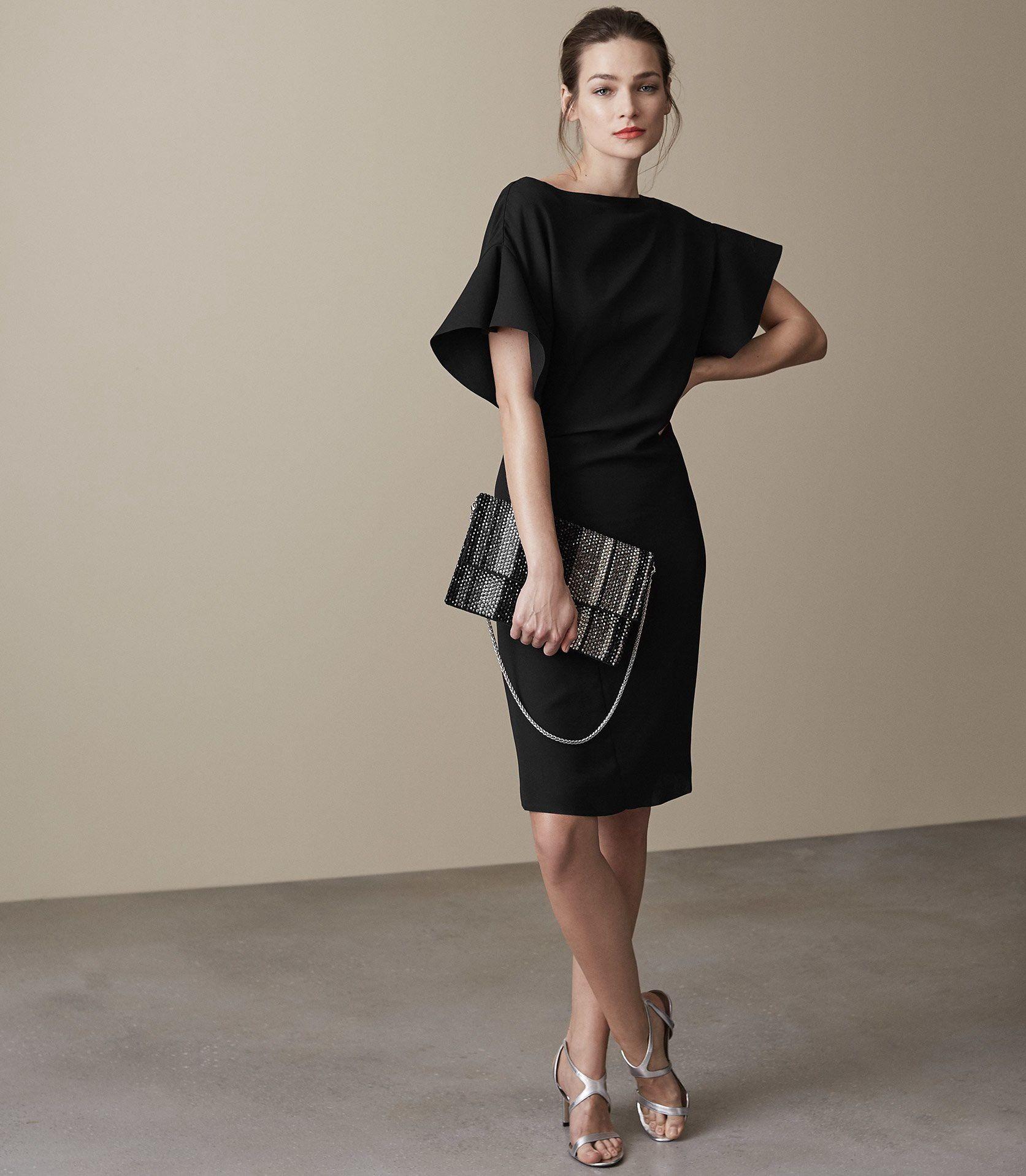 f012d9242b Reiss Manila Ruffle-Sleeve Dress Black - 10