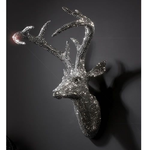 Super Sparkly Wall Deer Head Silver Special 165 Normal