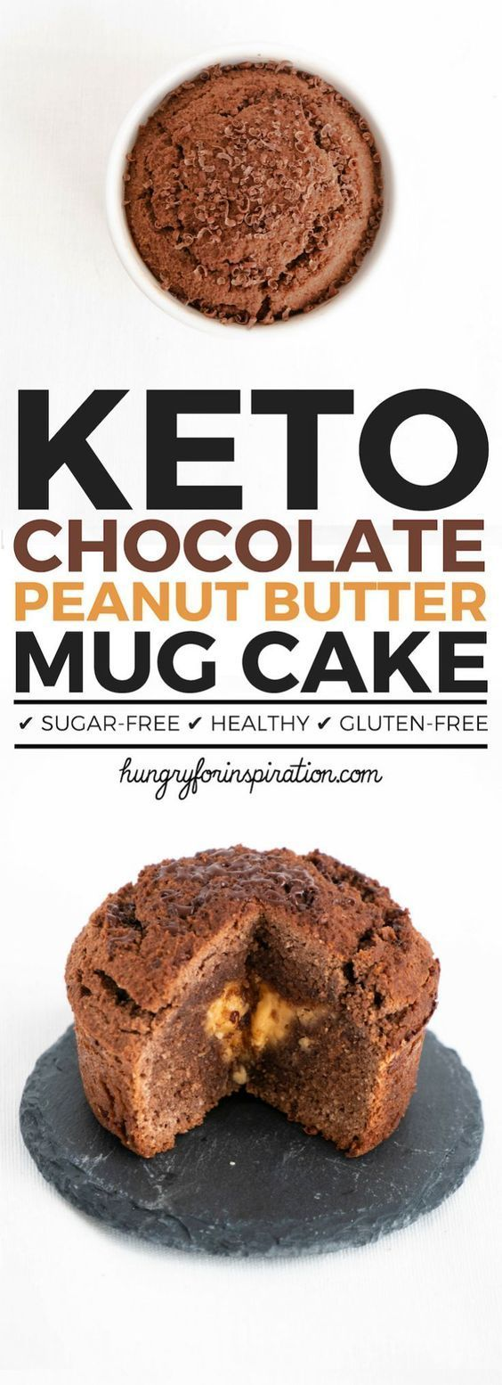 This moist Chocolate Keto Mug Cake with a delicious peanut butter core will satisfy your sweet cravings while keeping you in ketosis! A Keto Dessert that only takes 1 minute! Click through for the instructions of this Low Carb mug cake (Low Carb Desserts)! #keto #ketodiet #ketodessert #ketorecipes #ketogenic #ketogenicdiet #lowcarb #lowcarbrecipes #proteinmugcakes