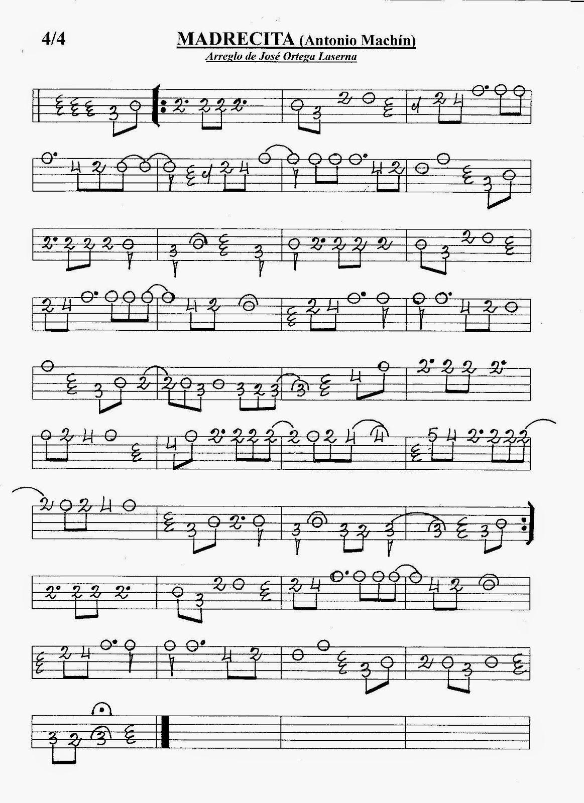 Partituras En Cifra Para Bandurria Y Laúd De José Ortega Laserna Madrecita Antonio Machín Partituras Canciones De Guitarra Musica Partituras