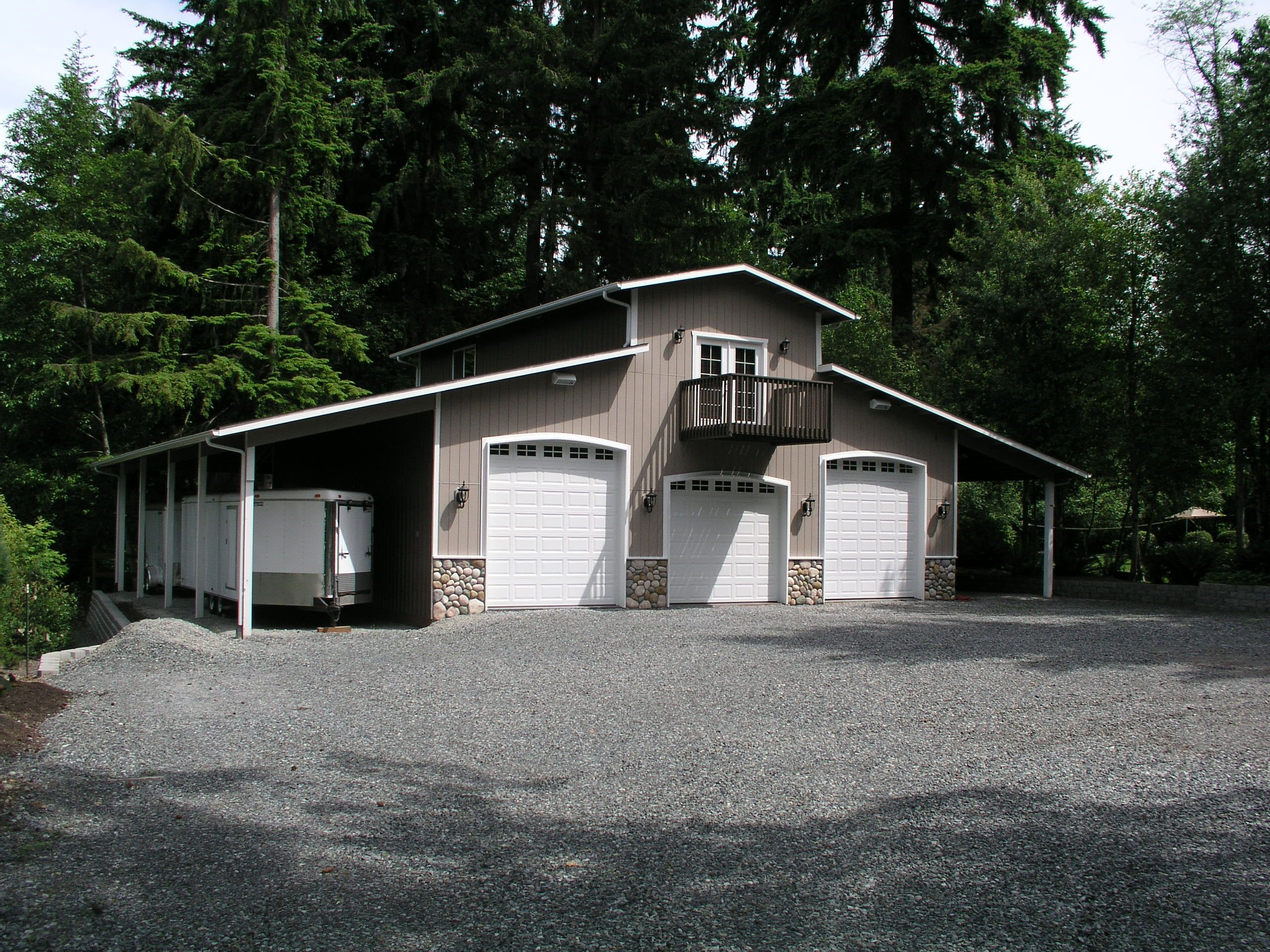 3 car shop plans for rv bay garage with double sided for Barn apartment ideas