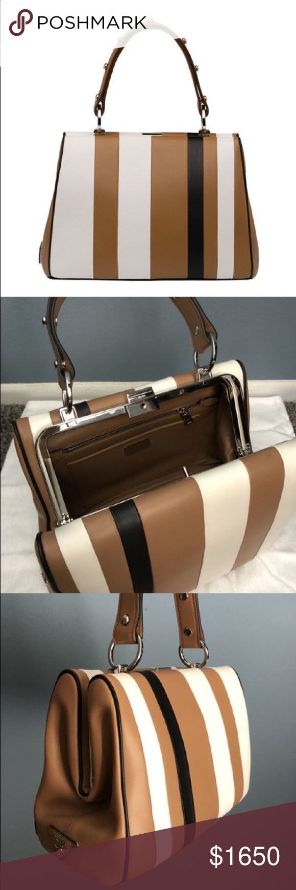 9ecae20a64acd9 Prada Baiadera Arcade-Stripe Frame Satchel Bag Prada Arcade Stripe Frame in  Camel/White/Black (Caramel+bianco+nero) Calfskin Leather S…   My Posh Picks  in ...