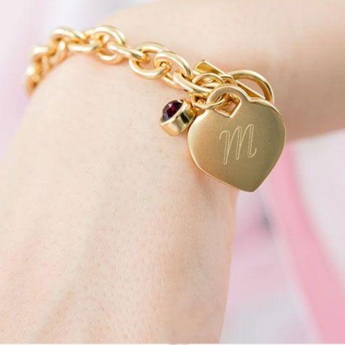 Matte Gold Toggle Charm Bracelet With Gemstone Charm $14.95