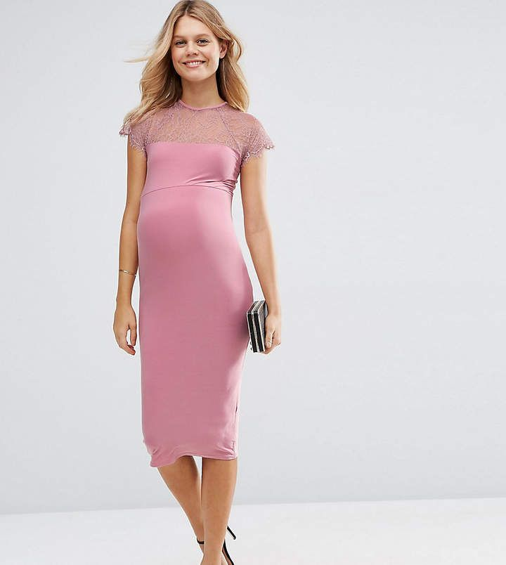 Lace Insert Bodycon Midi Dress - Pink Asos Maternity wuM63