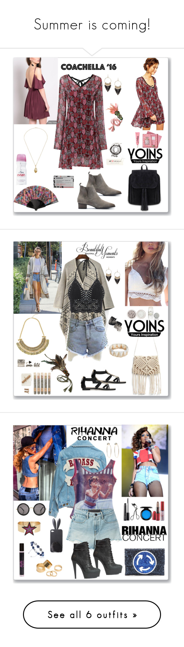 """""""Summer is coming!"""" by joachim-tracy ❤ liked on Polyvore featuring H&M, Vera Bradley, Korres, Evian, Truly Aesthetic, Forever 21, Lavanila, boho, bag and beige"""