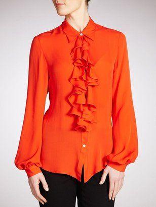 a30e621b403a6e ShopStyle  Lauren by Ralph Lauren Silk Frill Front Blouse