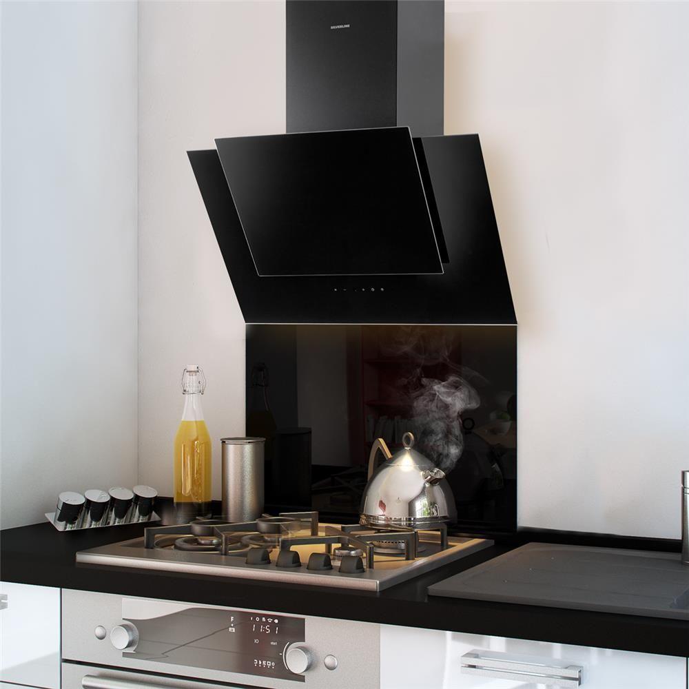 Credence Fond De Hotte Verre Brillant Noir Hauteur 45cm Fond De Hotte Verre Decoration Cuisine Moderne Et Hotte Inclinee