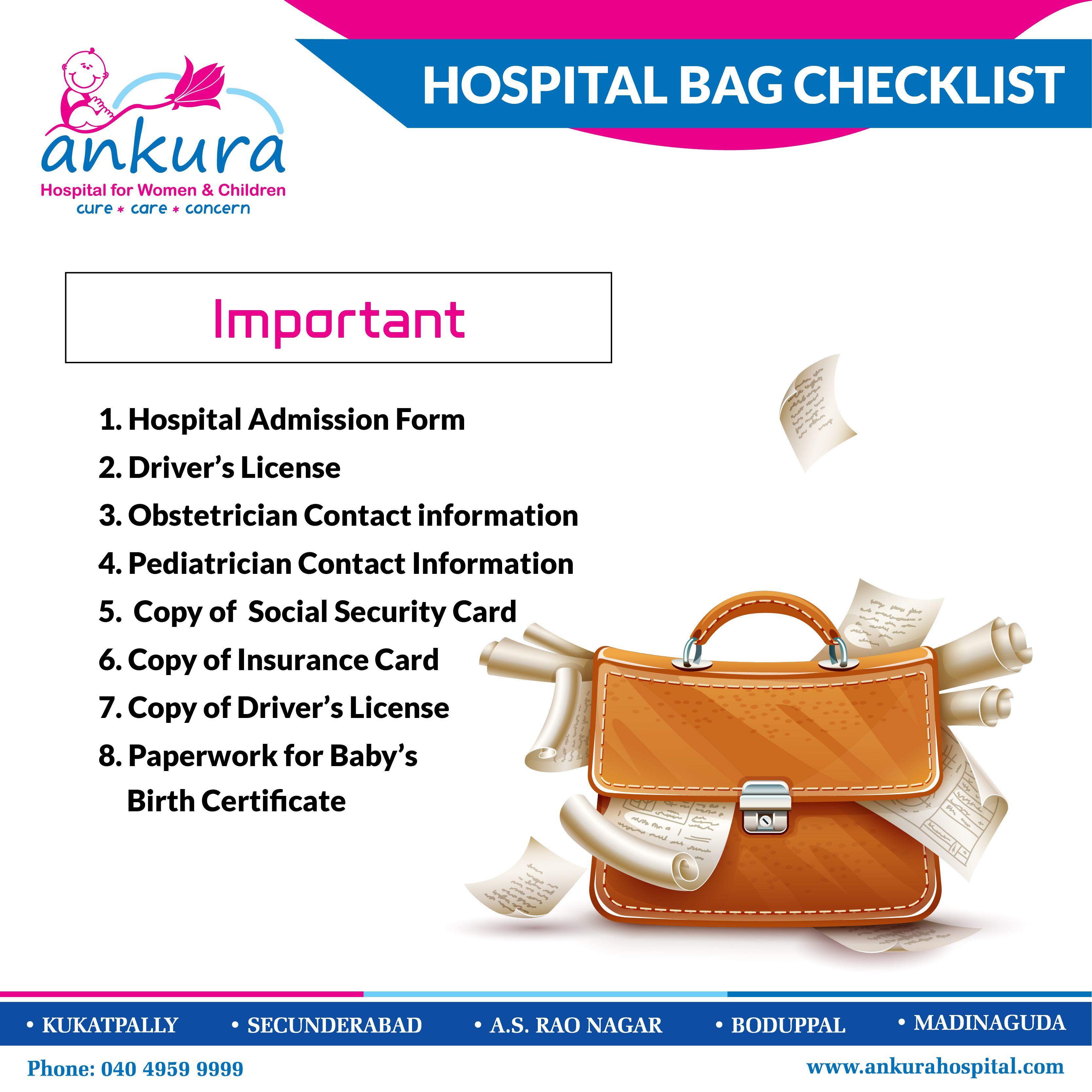 Hospital Bag Checklist. Important: 1. Hospital admission ...
