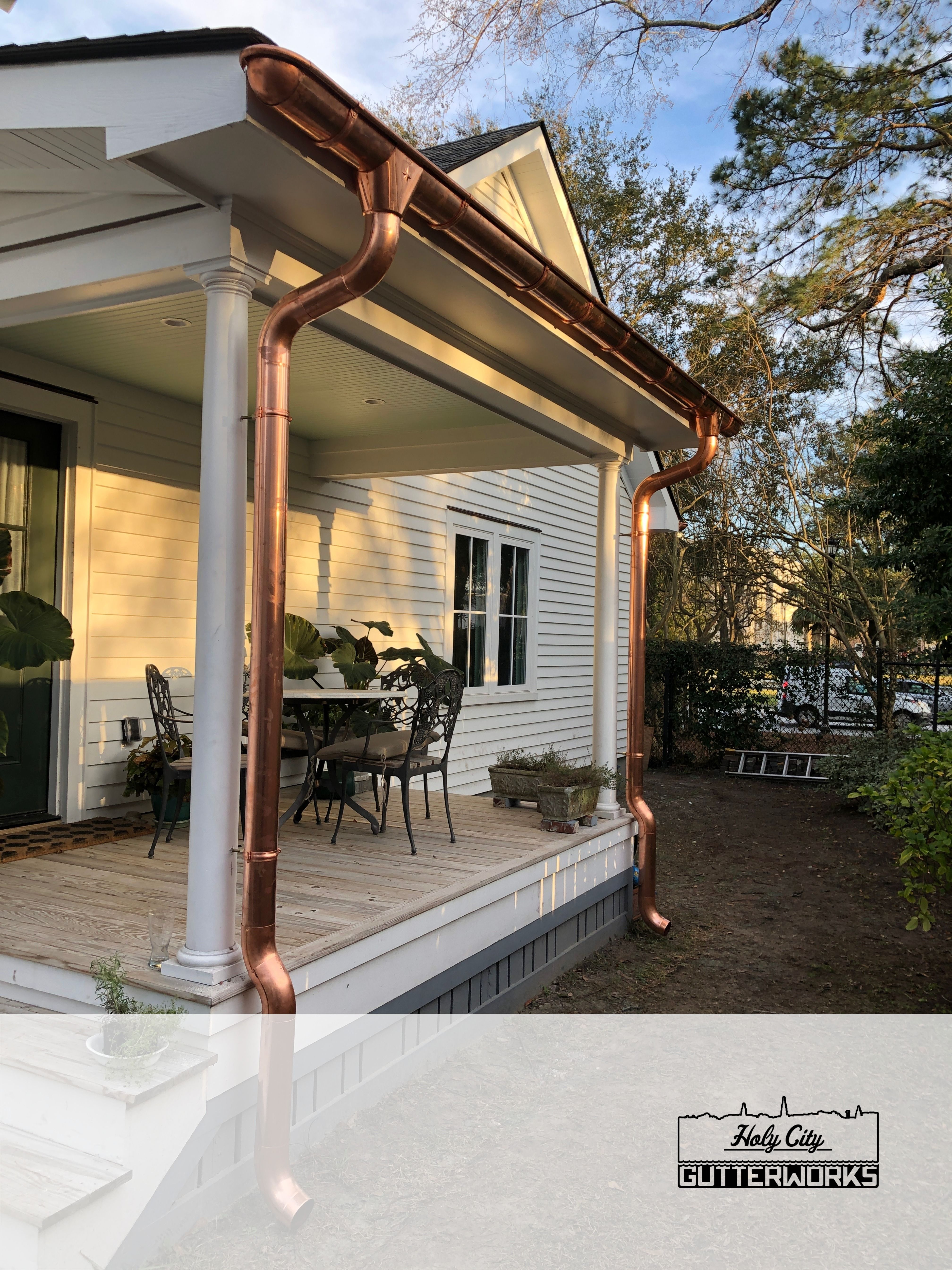 Copper Gutter With Radius End Cap House Paint Exterior Copper Roof House Country Home Exteriors