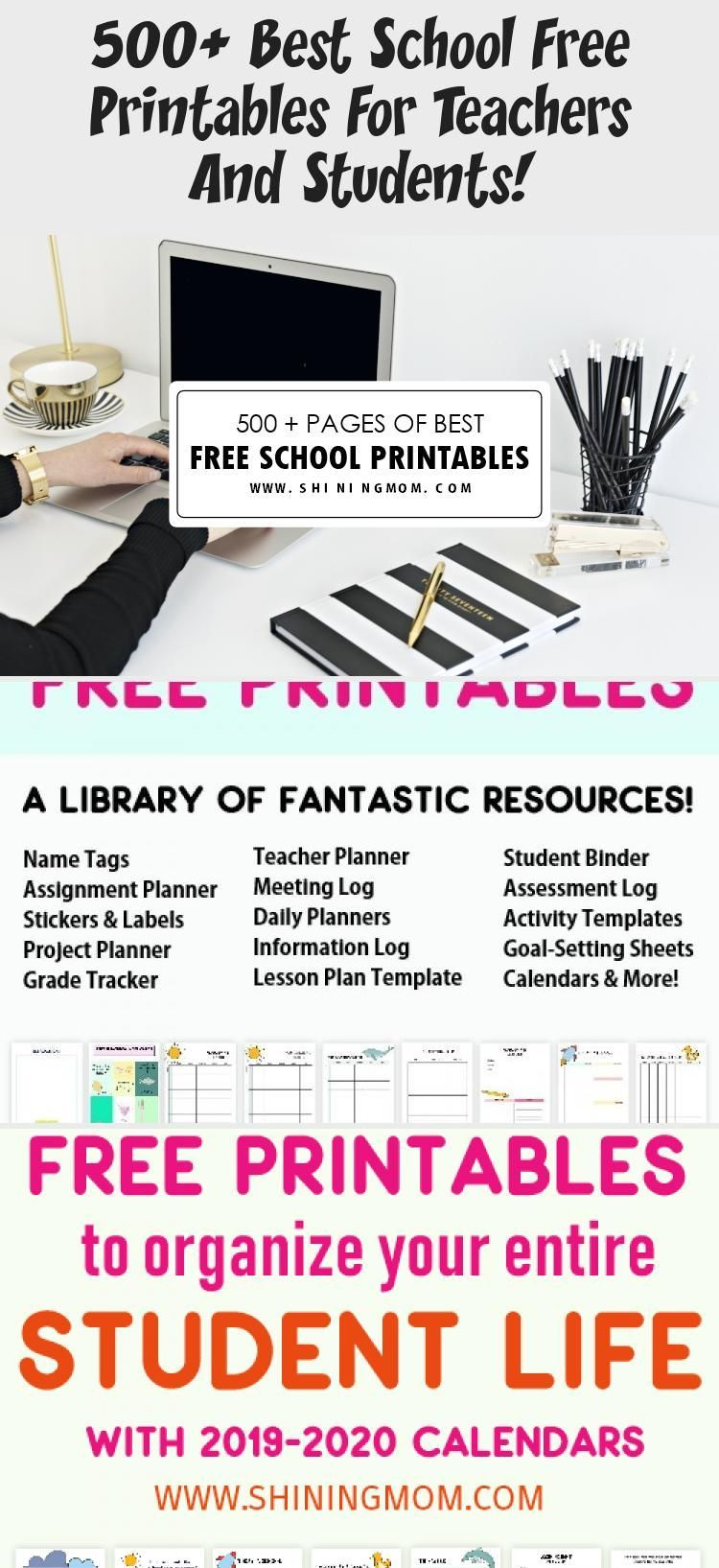 500+ Best School Free Printables For Teachers And Students! #teacherplannerfree Stay on top of everything in school with this vast list of free school printables.  Snag student binders, teacher planners, school stickers and labels, back-to-school organizers, school calendars, teacher quotes and posters, and more- all for free download. #school #studentbinder #teacher #freeprintables #shiningmomprintables #diyschoolorganizationIdeas #diyschoolorganizationLocker #diyschoolorganizationBackpacks #di #teacherplannerfree