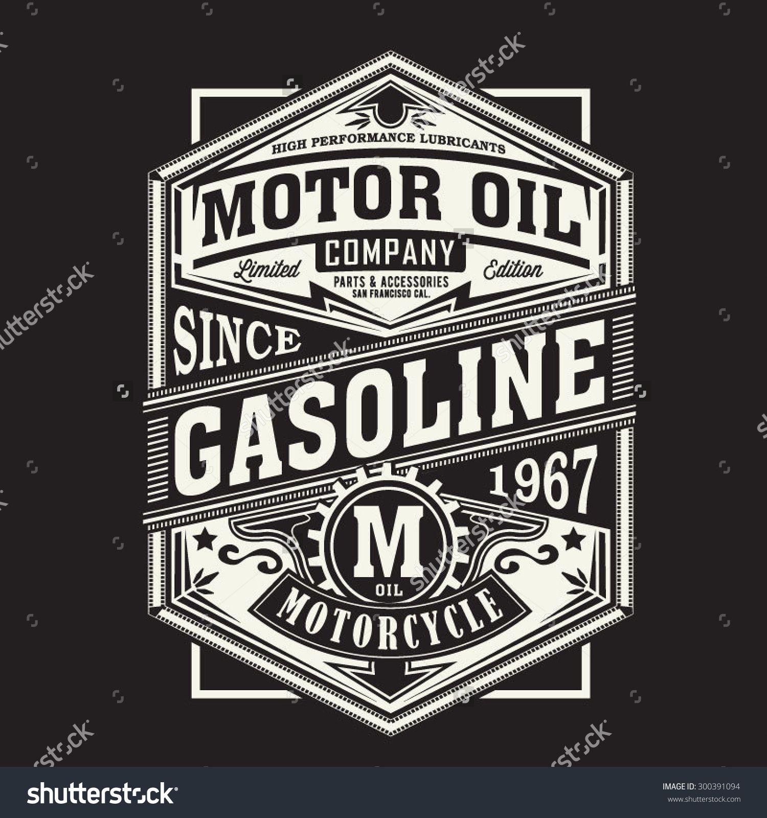 Design t shirt motor - Stock Vector Motor Gasoline Typography T Shirt Graphics