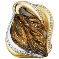 Naomi Sarna Smokey Quartz Diamond Gold Cocktail Ring