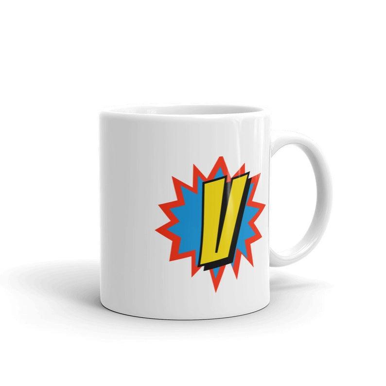 Comic Mug Superhero Gift Letter V   Coffee Mug, Travel Mug, Funny Quote Mugs,Birthday Gift For Men & Women, Monogram Mug #superherogifts