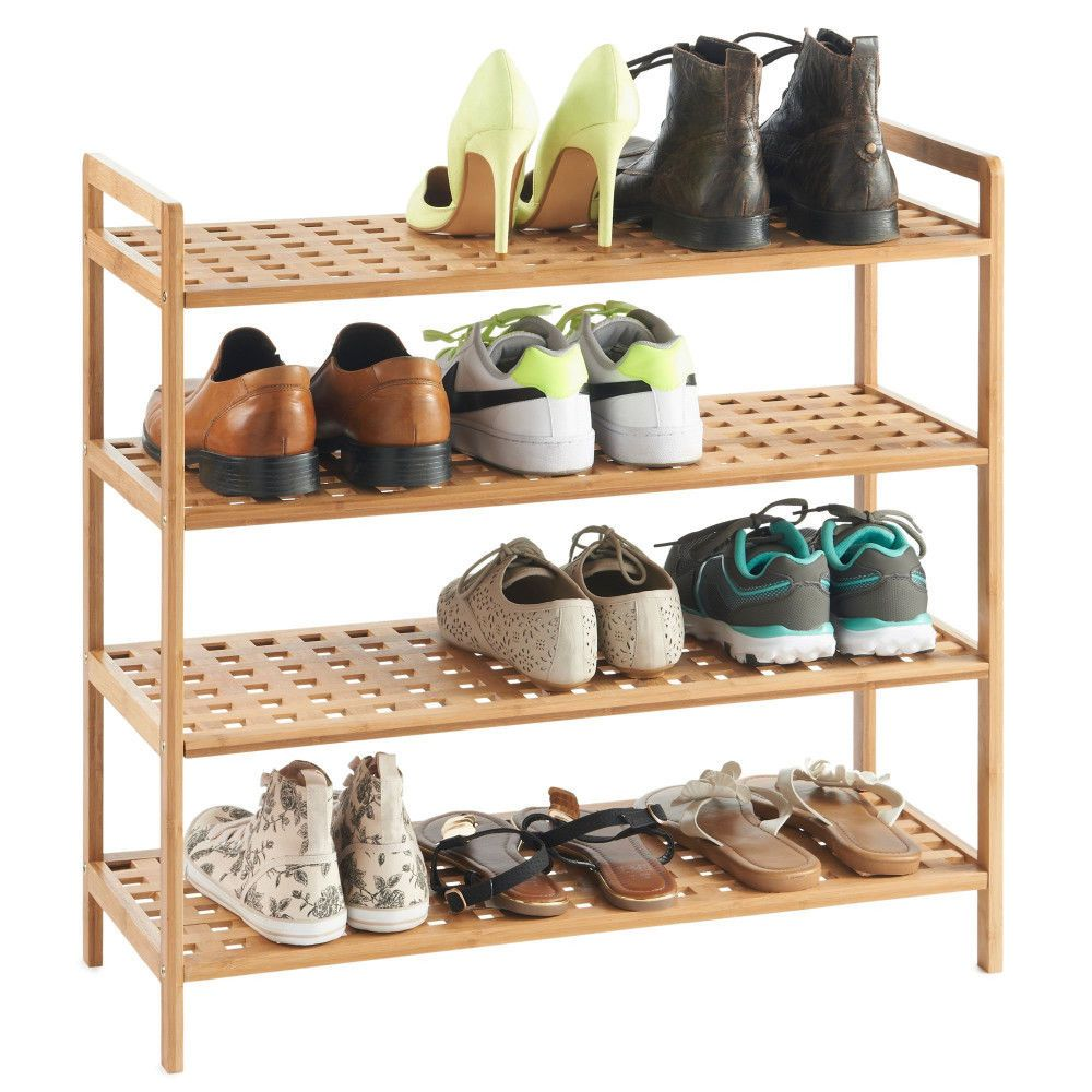 Hallway storage rack  Details about Bamboo Shoe Rack  Tier Storage Unit Natural Finish