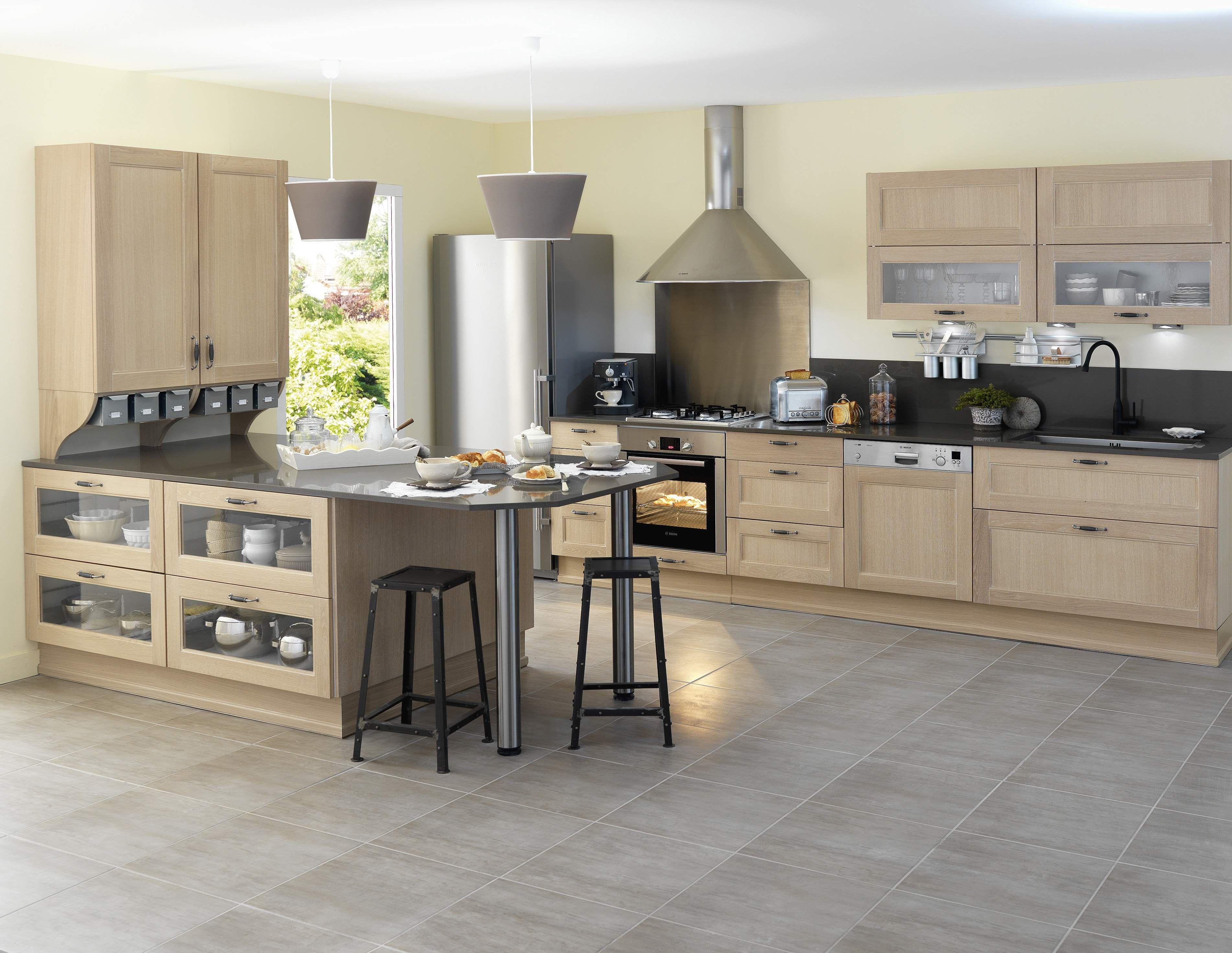 Cuisine fjord blanchi avec ses portes en ch ne le mod le - Les dernier modele de cuisine ...