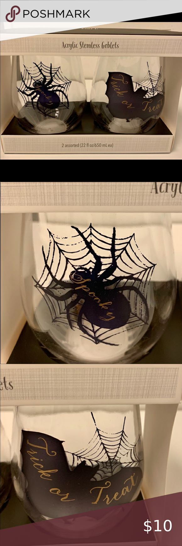 Peir One,Halloween 2020 🆕 Pier One Stemless Goblets 🕷 NIB in 2020 | Halloween stemless