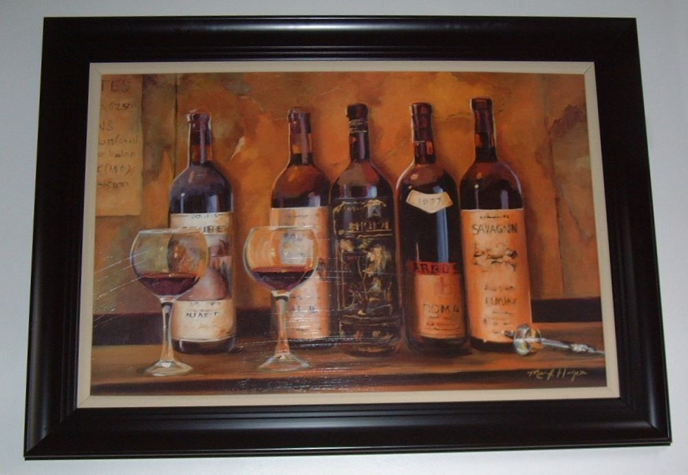 Mark Hagen Large Picture Painting Wine Bottles Glasses In