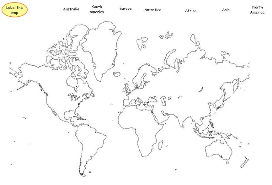 Fill-able Map of Continents | Homeschooling First Grade ...