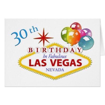 30th Las Vegas Birthday Card Standard 5 X 7