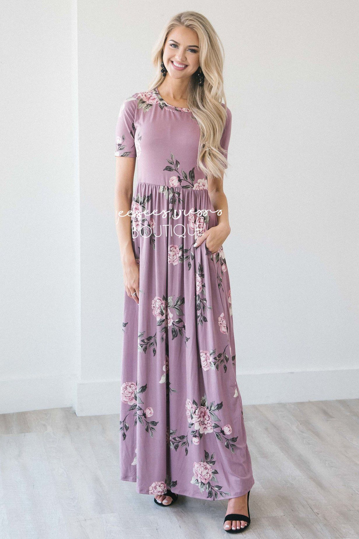 b09cf4e81c6 Dusty Lilac Floral Maxi Modest Dress
