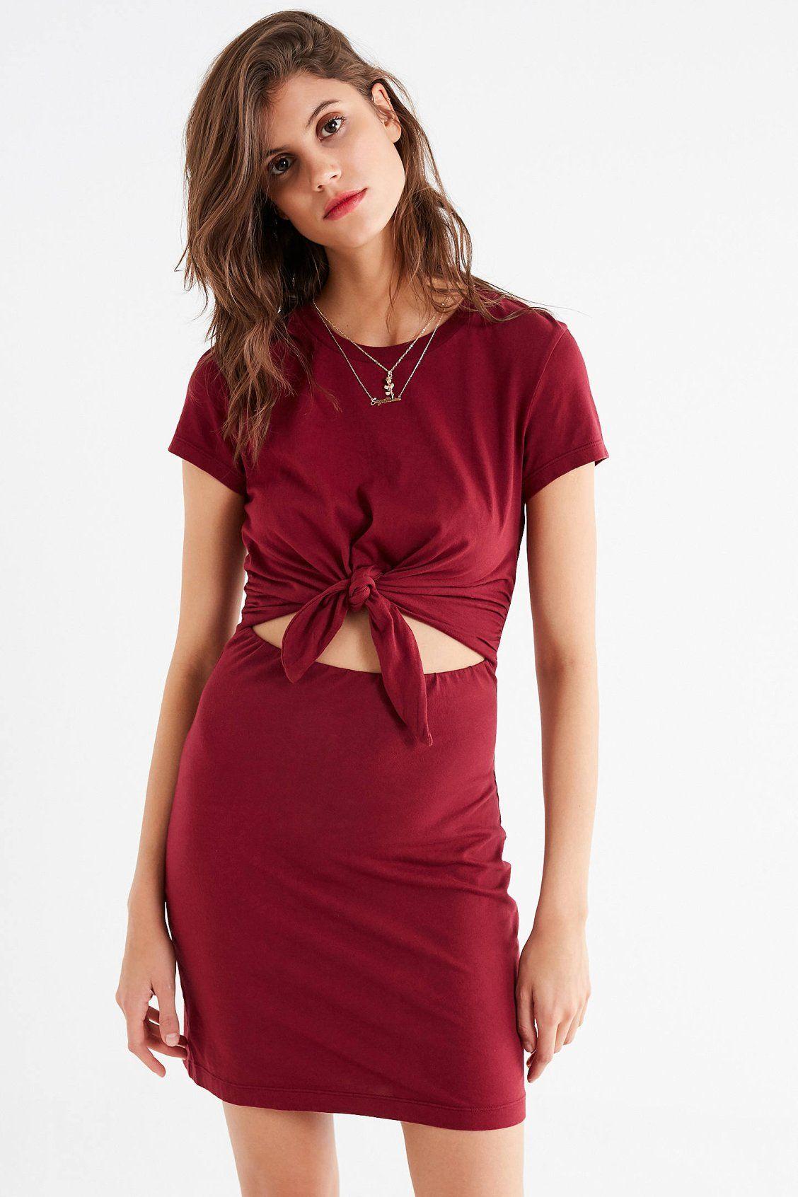 dbada290658 UO Tie-Front T-Shirt Dress