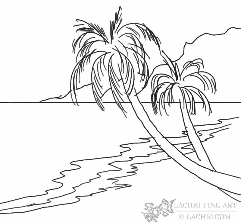 Line Art Beach : How to paint a beach and palm trees prints for painting