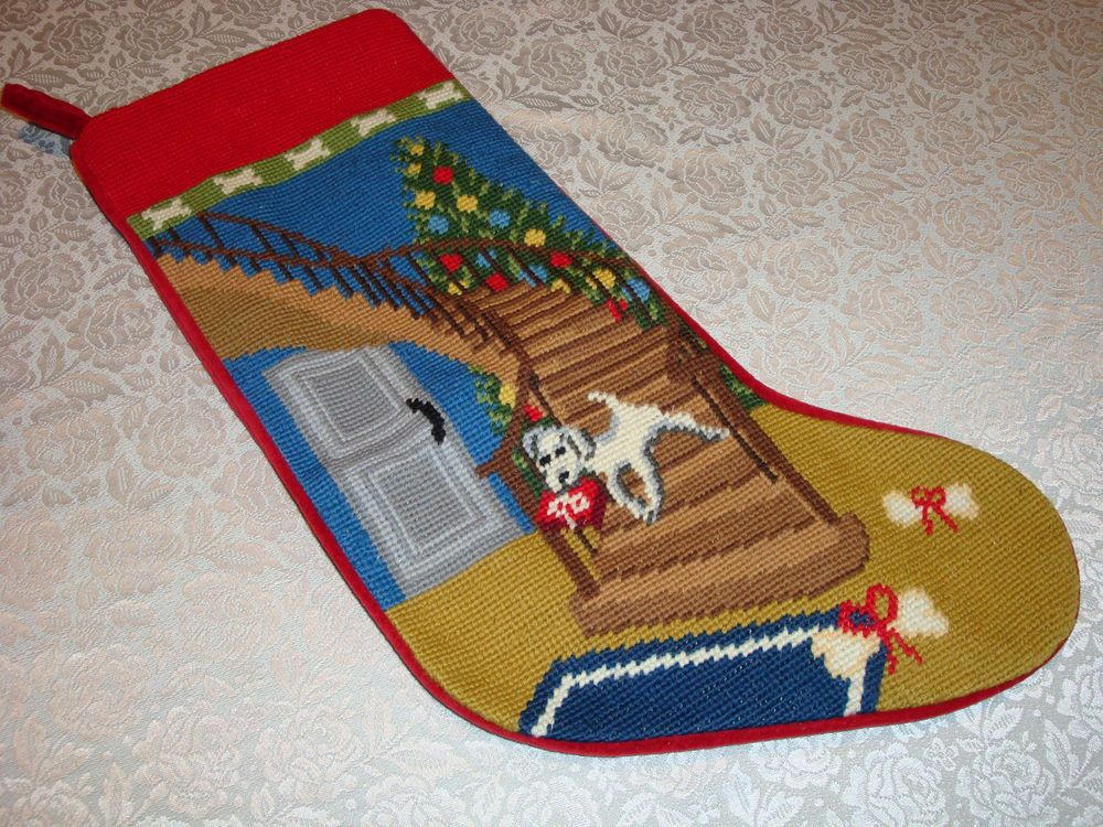 Lands End Christmas Stockings.Lands End Blank Needlepoint Christmas Stocking Puppy Stairs
