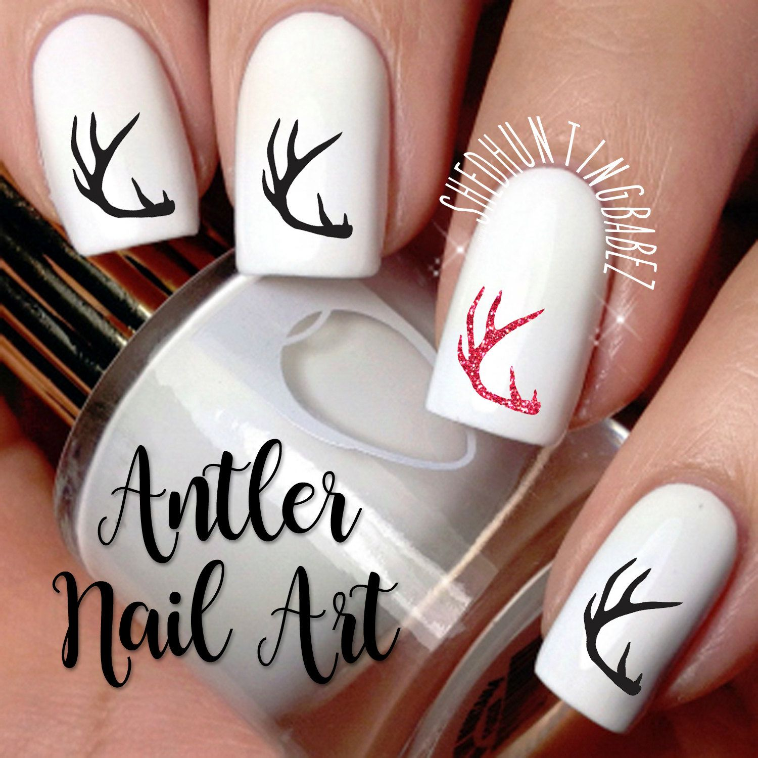 Deer Antler Nail Art Decals Girls That Hunt Fingernail Stickers Glitter Antler Nail Designs By Shedhuntingbabez On Etsy Hunting Nails Deer Nails Camo Nails