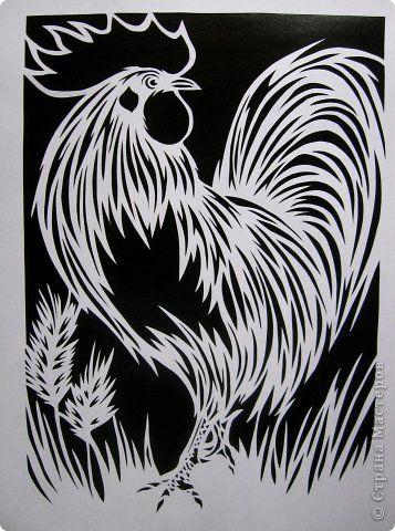 Картина панно рисунок Вырезание Петух_Lois Cordelia Бумага фото 1